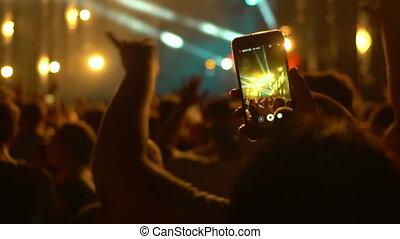 téléphone, concert musique, gens