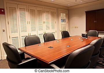 téléphone conférence, fin, salle, table