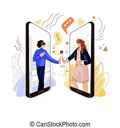 téléphone, conférence, plat, caractères, tenue femme, deux amis, partage, soutien, autre, virtuel, sympathie, chaque, mains, vecteur, amour, éloigné, vidéo, call., ligne, concept.