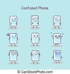 téléphone, confondu, intelligent, dessin animé