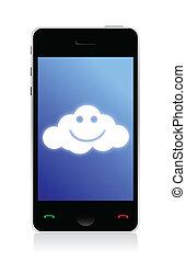 téléphone, connecté, nuage, heureux