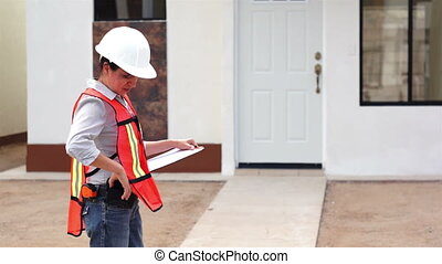 téléphone, construction, femme, patron