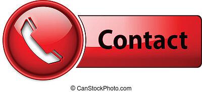 téléphone, contact, button., icône