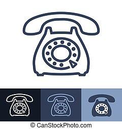 téléphone, contour, vieux, rotatif, icône