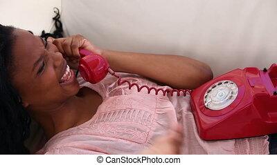 téléphone, conversation, brunette, femme, jeune