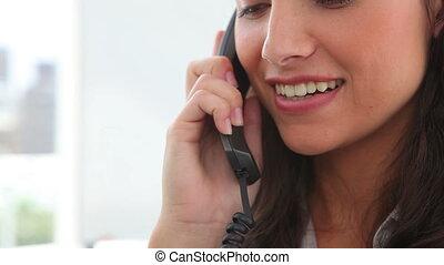téléphone, conversation, chevelure, brunette, femme