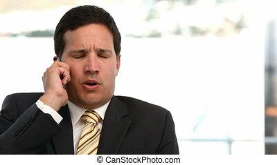 téléphone, conversation, fâché, homme affaires
