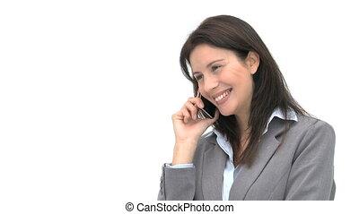 téléphone, conversation, heureux, femme affaires
