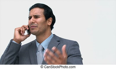 téléphone, conversation, homme affaires