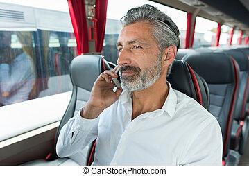 téléphone, conversation, homme, autobus, sien