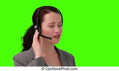 téléphone, conversation, jeune, femme affaires