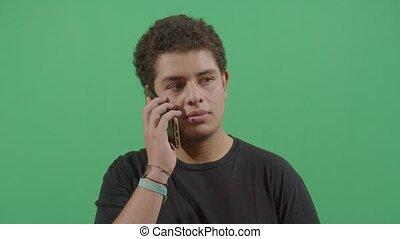 téléphone, conversation, jeune garçon