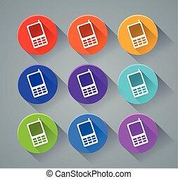 téléphone, couleurs, divers, icônes