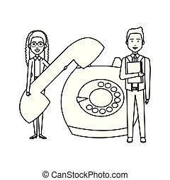 téléphone, couple, retro, business