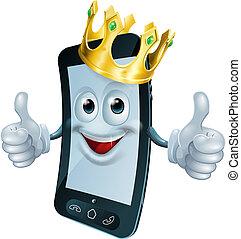 téléphone, couronne, homme