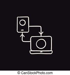 téléphone, croquis, synchronisation, ordinateur portable, icon.