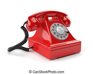 téléphone, démodé, blanc, isolé, rouges