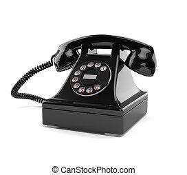 téléphone, démodé, blanc, noir, isolé