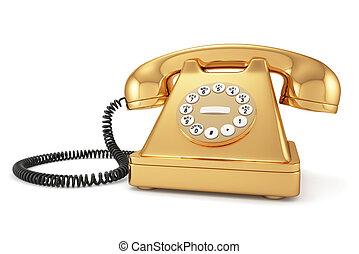 téléphone, démodé, or