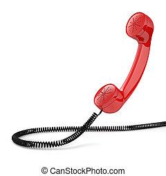 téléphone, démodé, rouges, récepteur
