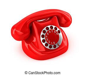 téléphone, démodé, sur, blanc, dos