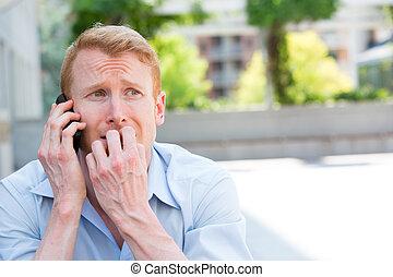 téléphone, désespéré, appelle