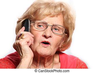 téléphone, dame, personnes agées