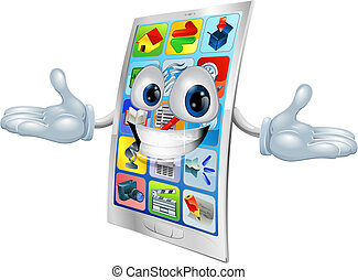 téléphone, dessin animé, cellule, mascotte