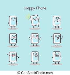 téléphone, dessin animé, intelligent, heureux