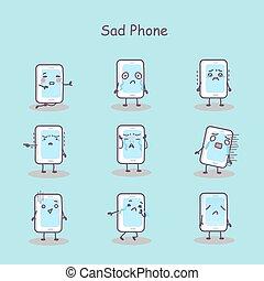 téléphone, dessin animé, intelligent, triste