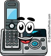 téléphone, dessin animé, sans fil