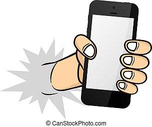 téléphone, dessin animé, tenant main
