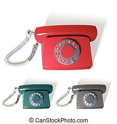 téléphone, différent, vecteur, vieux, couleurs