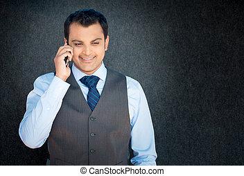 téléphone, discussion, heureux
