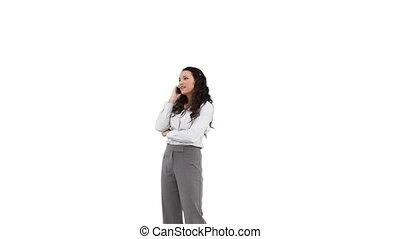téléphone, distance, affaires conversation, femme