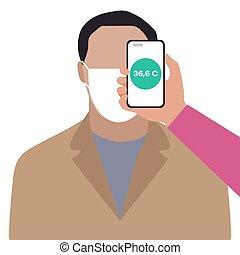 téléphone, distance, gens, balayage, température, santé
