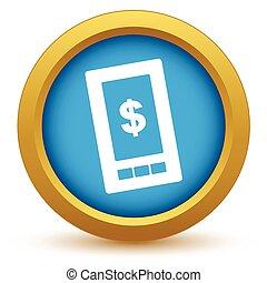 téléphone, dollar, or, icône