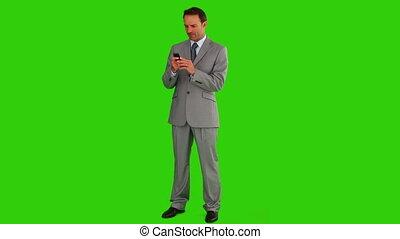 téléphone, ecriture homme affaires, gris, texte, sien, complet