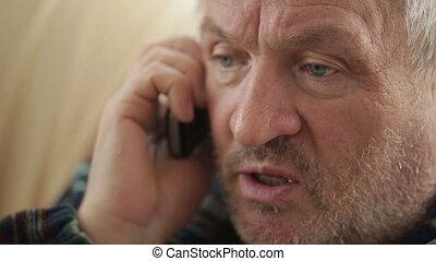 téléphone, eldery, parler, homme