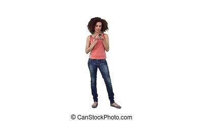 téléphone, elle, mobile, texting, femme