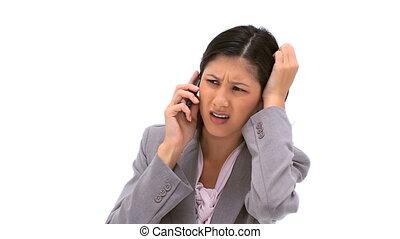 téléphone, elle, mobile, utilisation, brunette, femme