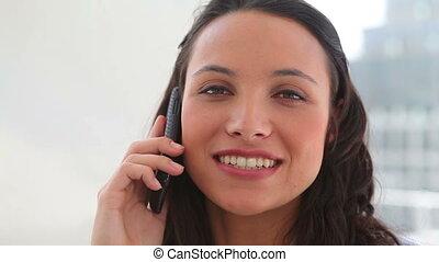 téléphone, elle, sourire, pourparlers, femme