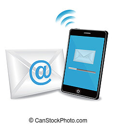 téléphone, email, intelligent, envoi