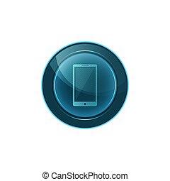 téléphone enchaînement, mobile, bouton, arrière-plan., vecteur, blanc, design.