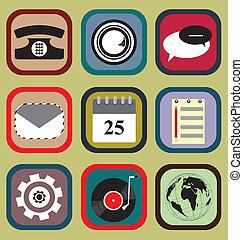 téléphone, ensemble, icône, mobile