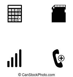 téléphone, ensemble, icône