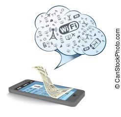 téléphone, ensemble, intelligent, wi-fi, icône
