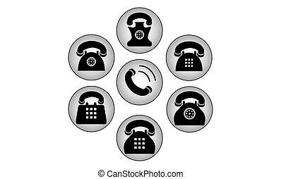 téléphone, ensemble, noir, icônes