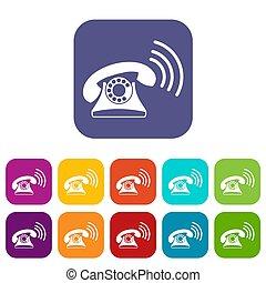 téléphone, ensemble, retro, icônes