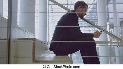 téléphone, escalier, mobile, utilisation, homme affaires,...